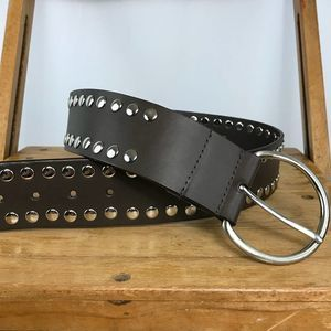 Perry Ellis brown leather silver studded belt M